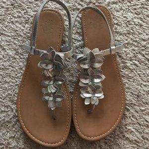 Silver Flowered Sandals